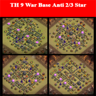 Town Hall 9 War Base Maps - náhled