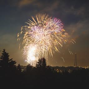 Sioux Falls Fireworks by Jeffrey Zoss - Uncategorized All Uncategorized ( color, awesome, firework, landscape, sioux falls )