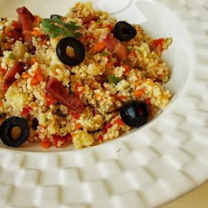 Couscous With Peppers, Coriander And Bacon, For A Quick Meal