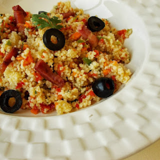 Couscous With Peppers, Coriander And Bacon, For A Quick Meal.
