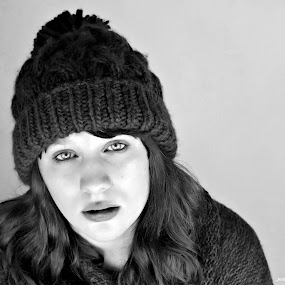 by Holly Williamson - People Portraits of Women ( isolated, lost, black and white, bw, people, photography, portrait, eyes, hat, winter, girl, woman, lonely )