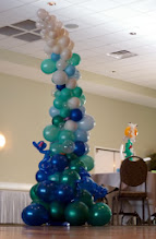 Photo: 7' tall wave balloon sculpture design by the Awesome Chris Horne CBA, a few extra details by us for the Under the Sea themed Grand Haven High School Prom 2011 at Trillium Banquet Hall, Spring Lake, Michigan. Beautiful place, Love the LED ceiling!