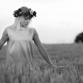 joy by Doru Iachim - Black & White Portraits & People ( melody, woman, joy, black and white, grey )