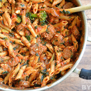 Penne Pasta with Sausage and Greens.
