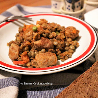 Spicy Lentils One Pan With Sausage Balls.
