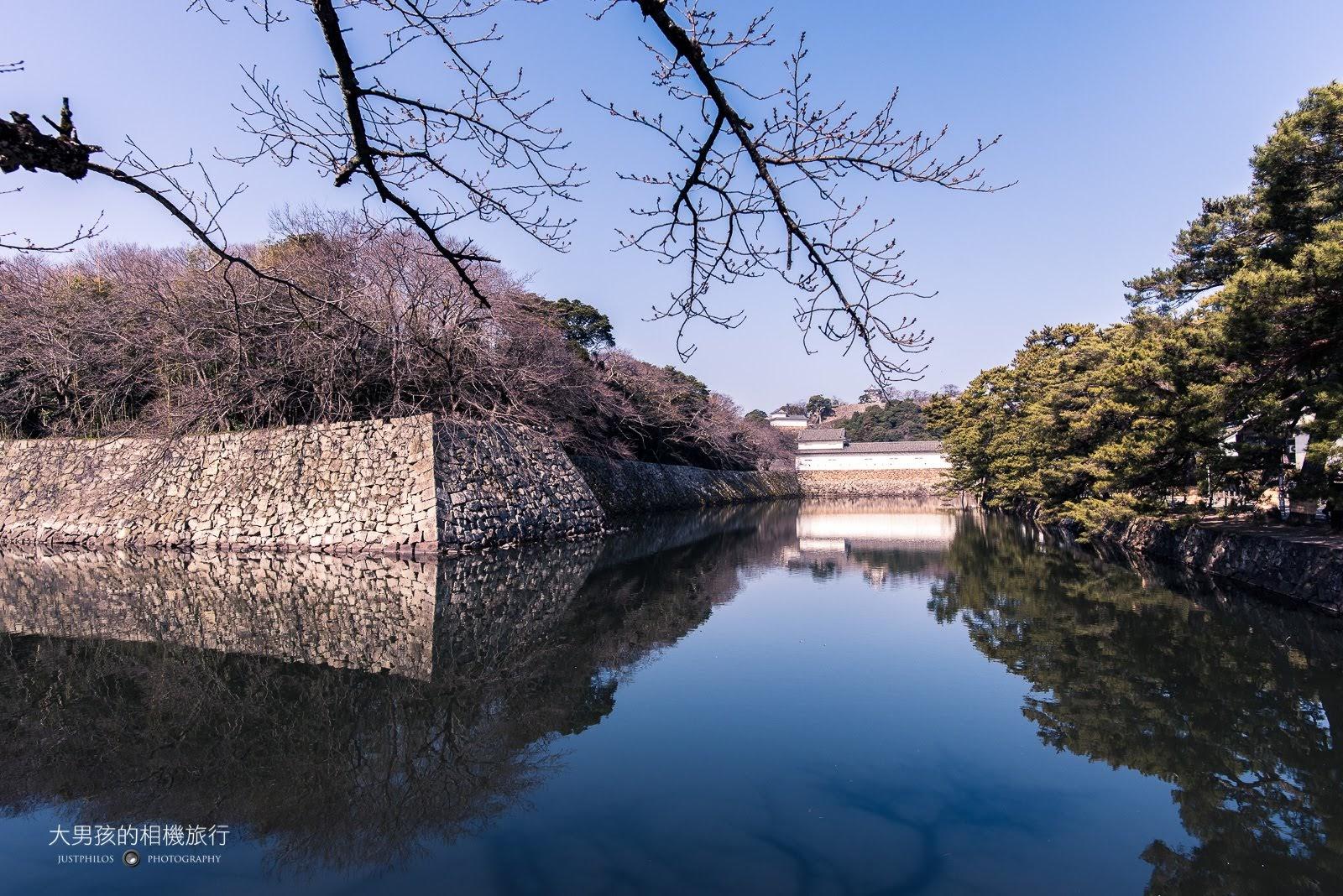 彥根城的護城河與外牆,這邊是著名的彥根城賞櫻拍照點。