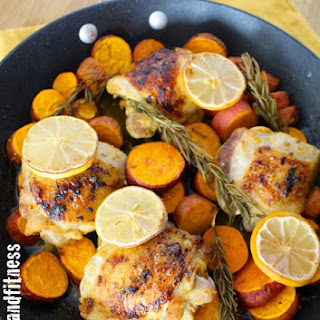 Rosemary Lemon Chicken and Sweet Potato Skillet with Asparagus