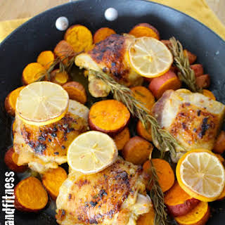 Rosemary Lemon Chicken and Sweet Potato Skillet with Asparagus.