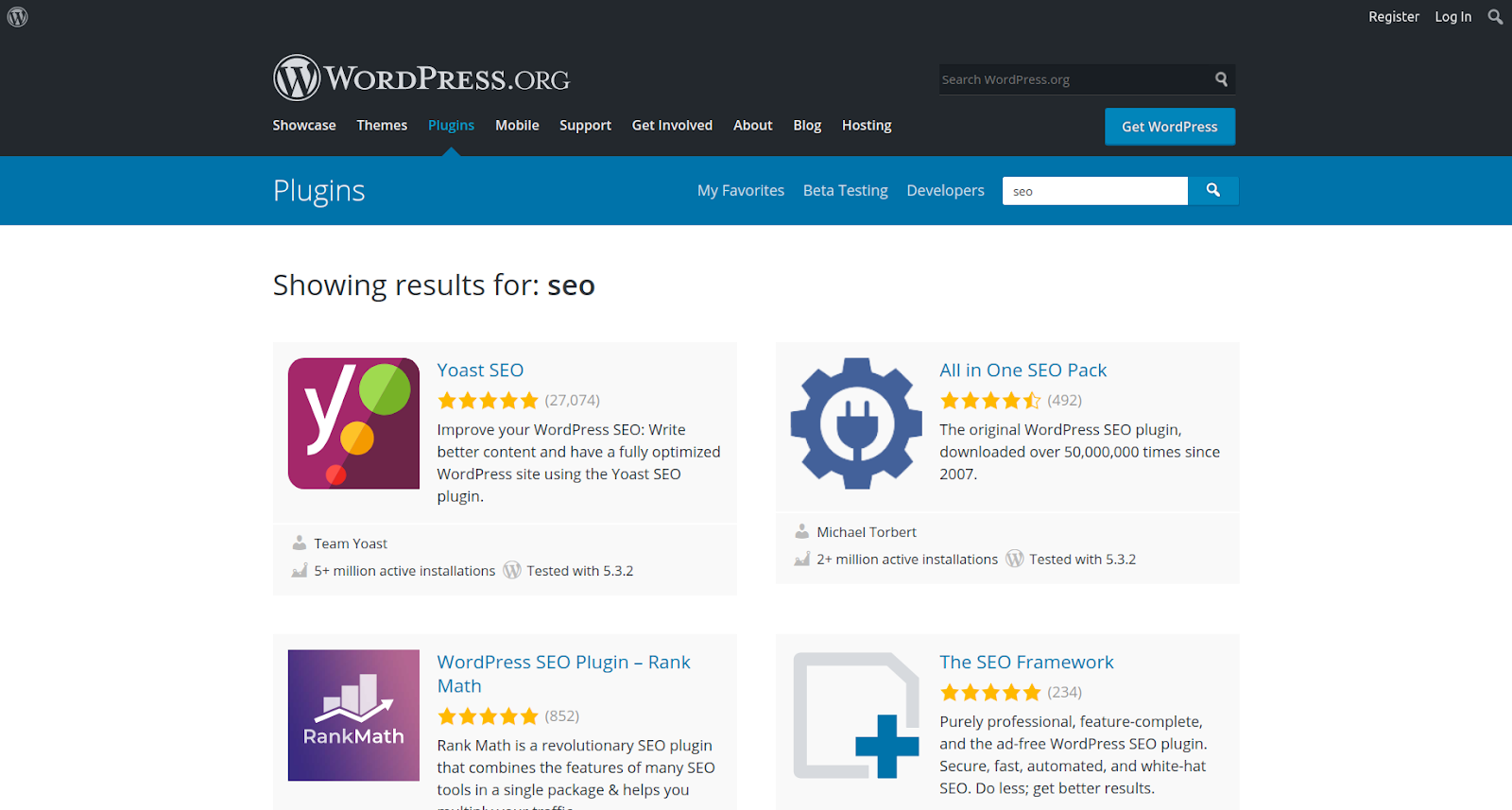 wordpress seo plugins results