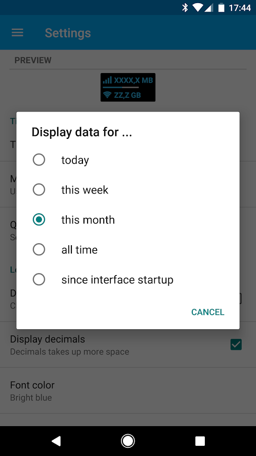 Data counter widget    - usage- screenshot