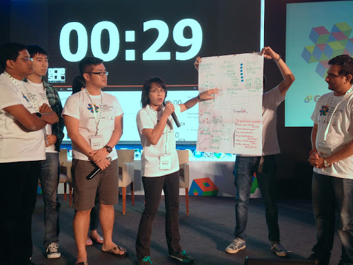 Our group on stage presenting our design, after the top 3 winners were announced
