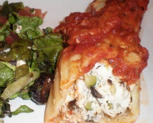 Manicotti stuffed with Chicken and Veggies