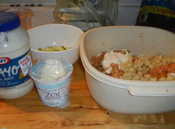 Mix mayo, yogurt, and horseradish sauce ...to  your taste. Add veggies and cooked peas to...