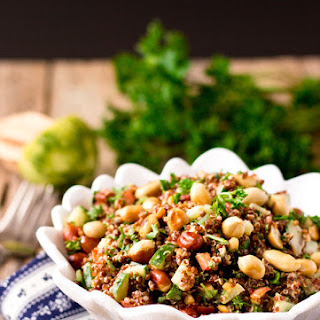 Red Quinoa Salad Bowl with Peanuts