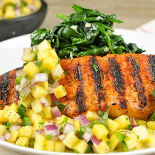 Baja Grilled Salmon With Mango-Lime Salsa and Garlicky Spinach