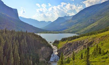 Photo: View of Poia Lake from our evening hike - Looking toward Red Gap Pass