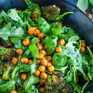 Roasted Broccoli Chickpea Arugula Salad Recipe