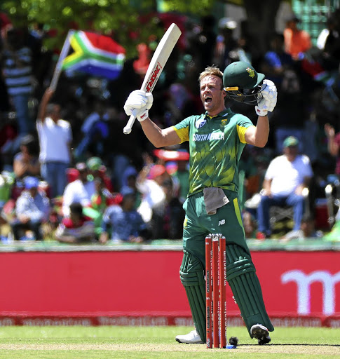 On fire: AB de Villiers celebrates reaching his century in Paarl. His 176 was a career best in ODIs and was achieved after an absence since June. Picture: CHRIS RICCO/BACKPAGEPIX