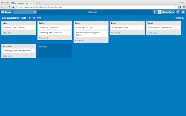 list layouts for trello