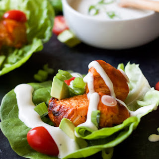 Grilled Buffalo Chicken Lettuce Wraps.