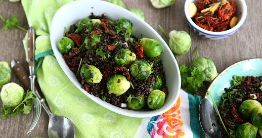 Stirfried Brussels Sprouts with Beluga Lentils