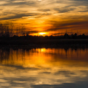 Sunset at the lake by Daly Sda - Landscapes Sunsets & Sunrises ( nature, sunset, lakes, landscapes,  )