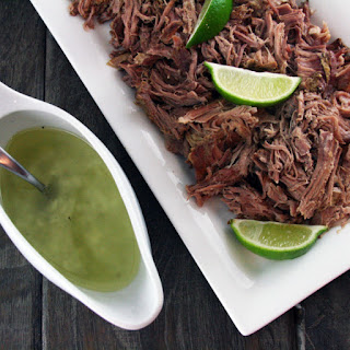 Crockpot Lechon (Pulled Pork) with Cuban Mojito Sauce.