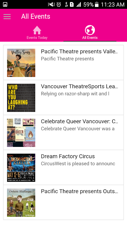 VancouverEvents- screenshot
