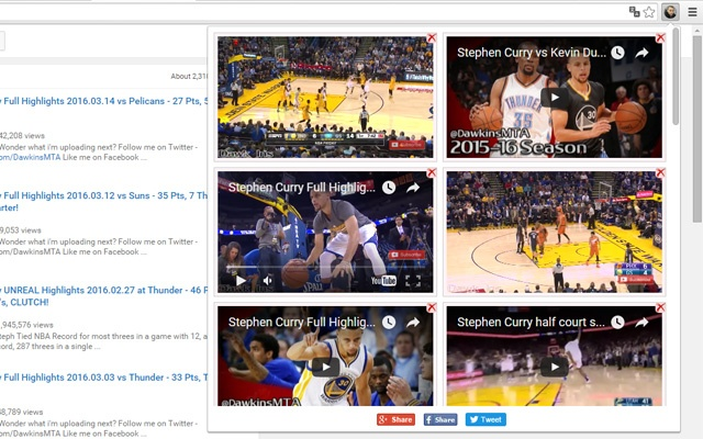 Stephen Curry Video chrome extension