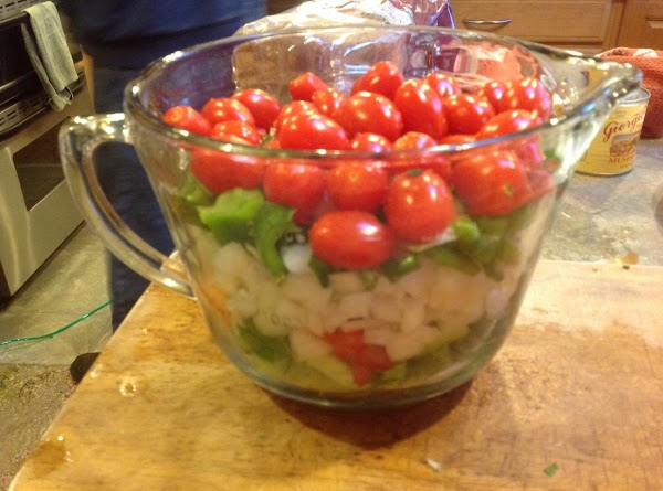 CHOP FRESH VEGGIES AND ADD TO LARGE MEASURING CUP. Should have close to 8...
