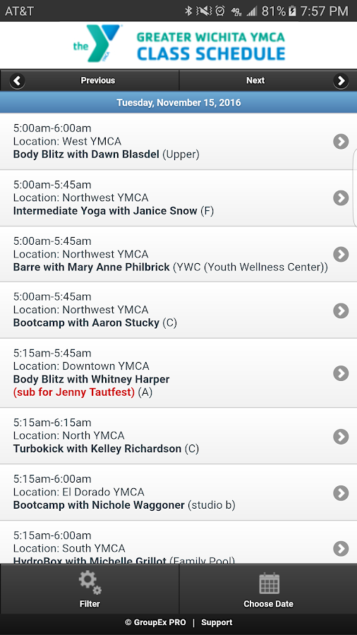 Schedules-Greater Wichita YMCA- screenshot