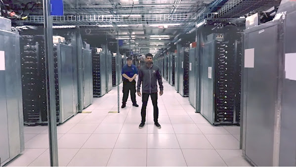 Still image from 360 degree tour of a Google data center