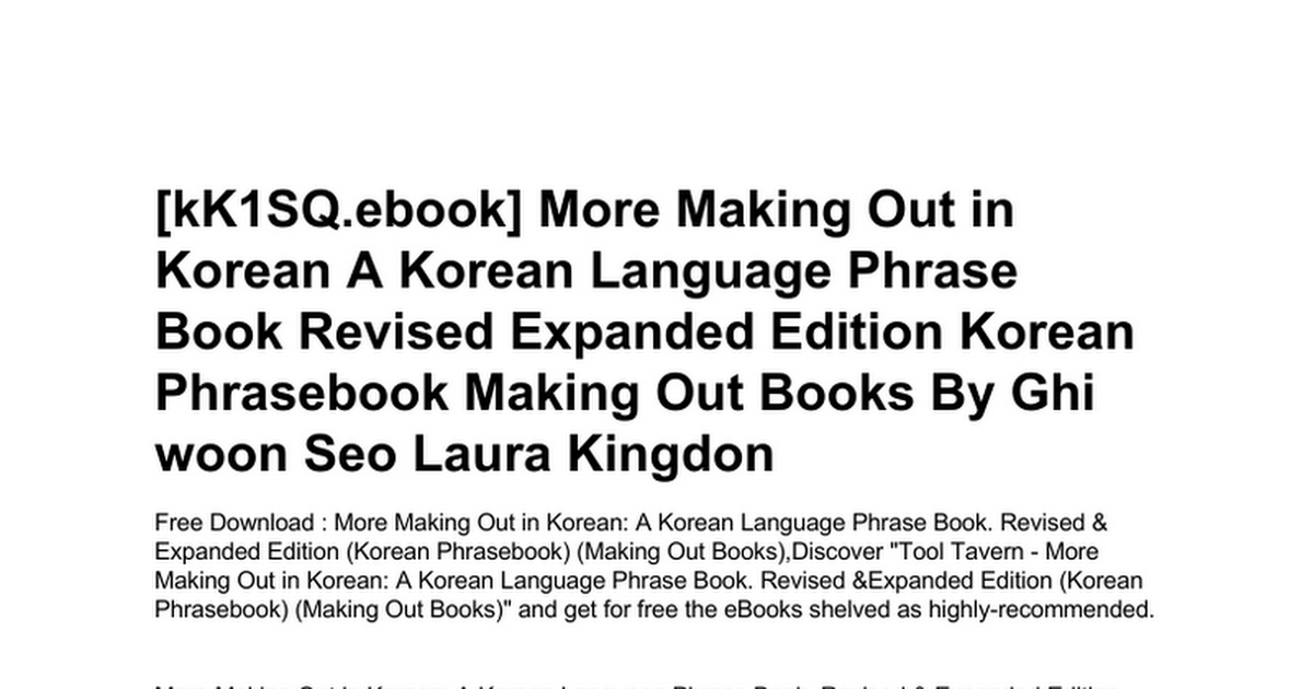 more-making-out-in-korean-a-korean-language-phrase-book-revised