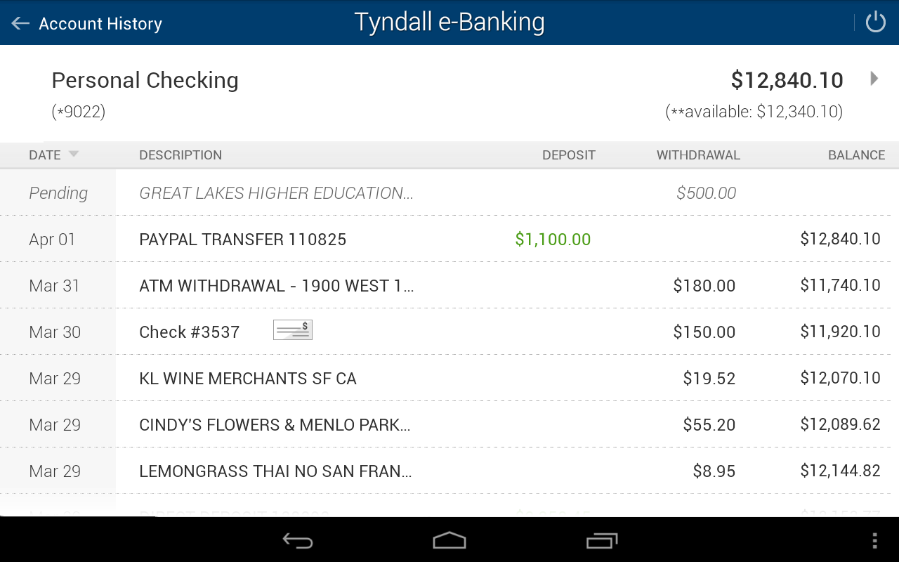 Tyndall e-Banking- screenshot