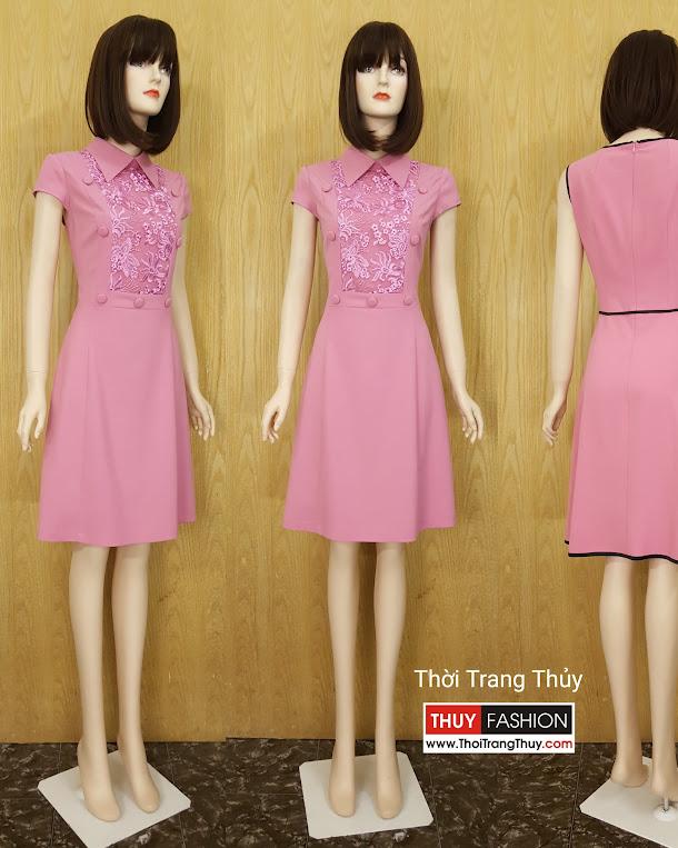 Váy xòe công sở phối ren hồng thạch anh V582 Thời trang thủy