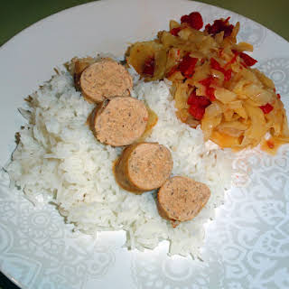 Crock Pot Braised Cabbage with Sausage and Rice.
