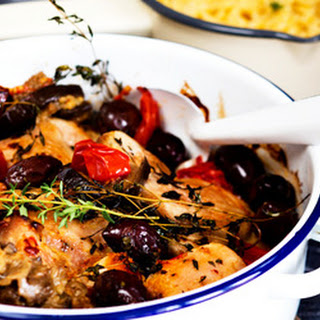 Baked Chicken With Tomatoes, Aubergine And Olives