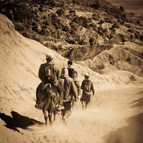 Going Home by Agung A - People Street & Candids ( sand, mountain, horse, mounted, people, leaving )