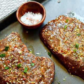 Mango-Marinated Flat Iron Steaks with Fruity Ginger Jicama Slaw.