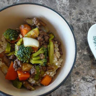 Asian Vegetable Stir Fry With Ground Beef.