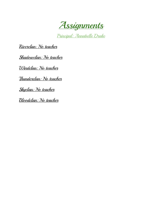 Warrior Cats Academy Assignments