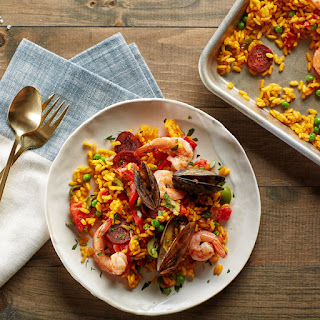 Sheet-Pan Paella with Chorizo, Mussels, and Shrimp
