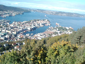 Photo: View of Bergen from the top of Floyen Mountain.