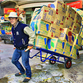 Chinatown Trader Moving Boxes Thailand by James Morris - City,  Street & Park  Street Scenes ( boxes, thailand, chinatown, trader, moving )