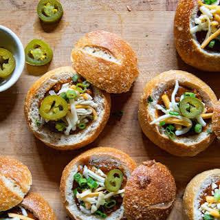 Mini Chili Bread Bowls.