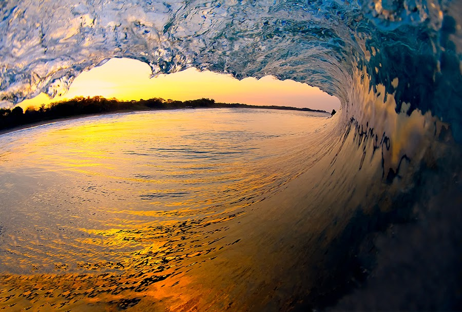 Sunrise from the tube by Trevor Murphy - Landscapes Waterscapes ( water, surfing, barrel )
