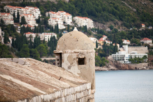 Dubrovnik-turret.jpg - A medieval-era turret shows signs of its age atop the garrison at Old Dubrovnik.