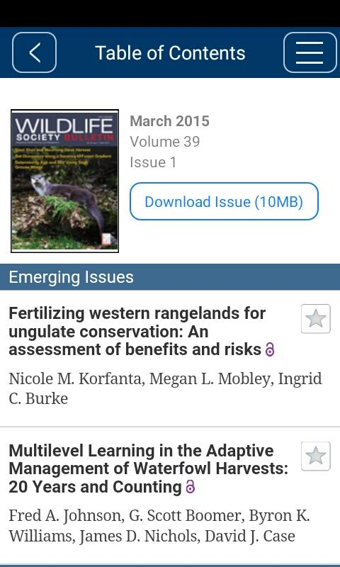 Wildlife Society Bulletin- screenshot
