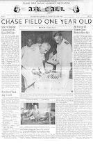 Photo: RADM Charles Mason cuts the brithday cake celebrating NAAS Chase Fields 1st birthday on June 1, 1944