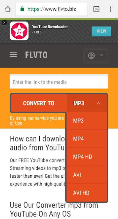 flvto youtube downloader android